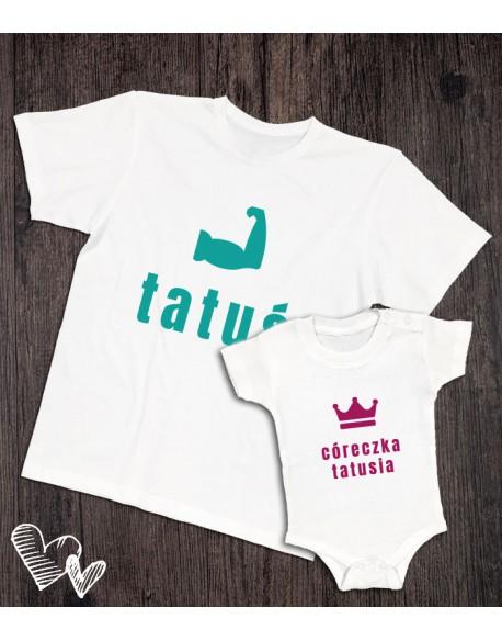 Koszulka i body/koszulka dla taty i dziecka TATUŚ biała
