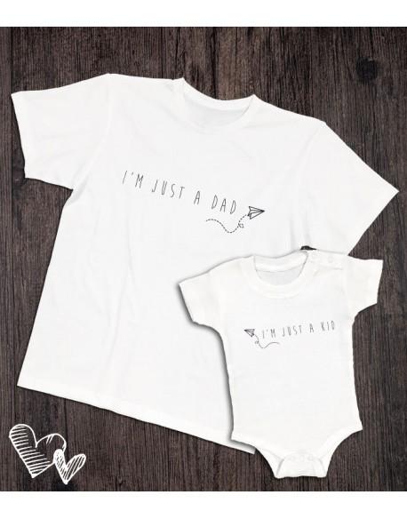 Koszulka i body/koszulka dla taty i dziecka JUST A KID biała