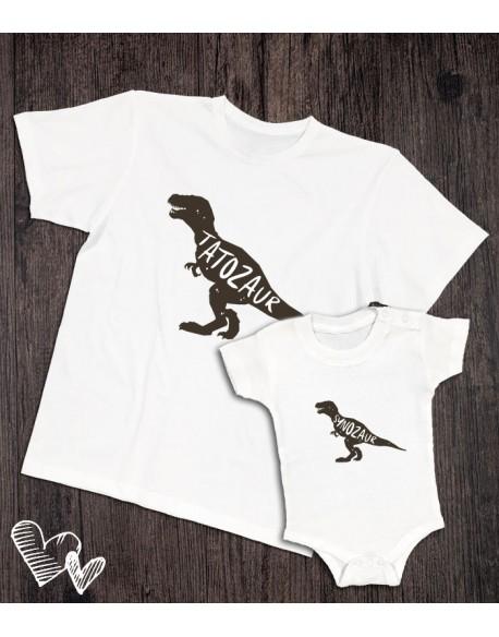 Koszulka i body/koszulka dla taty i dziecka TATOZAUR biała