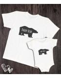 Koszulka i body/koszulka dla taty i dziecka Bear biała