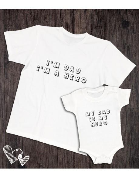 Koszulka i body/koszulka dla taty i dziecka hero biała