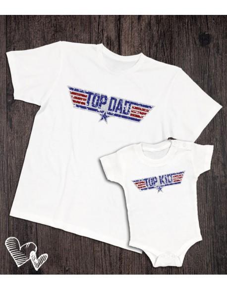 Koszulka i body/koszulka dla taty i dziecka TOP DAD biała