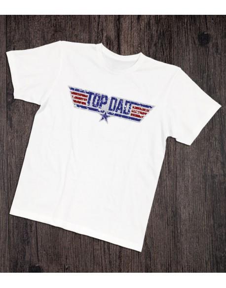 Koszulka dla taty TOP DAD biała