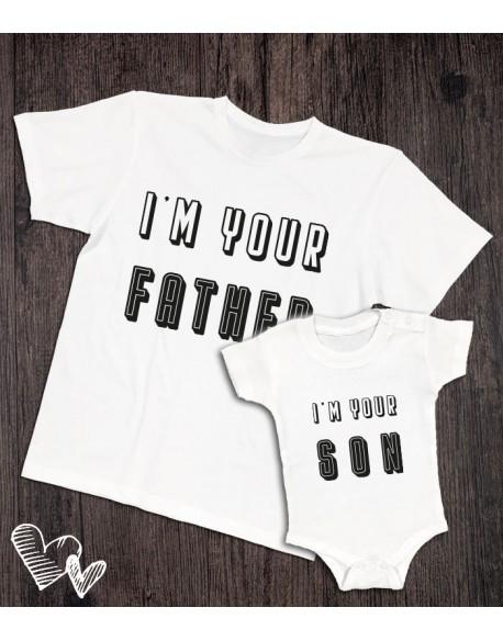 Koszulka i body/koszulka dla taty i dziecka father/son biała
