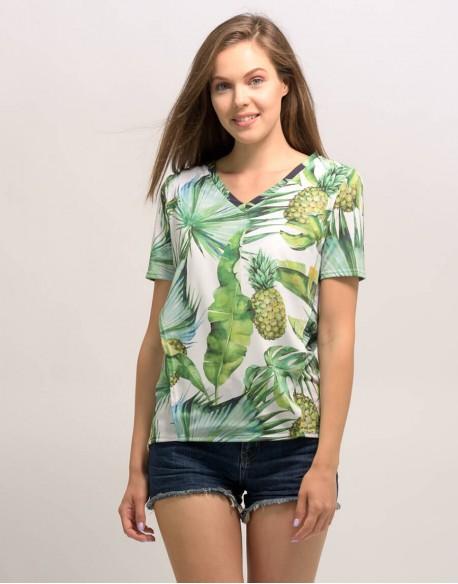 OUTLET/T-shirt do karmienia piersią EVERYDAY liście biały