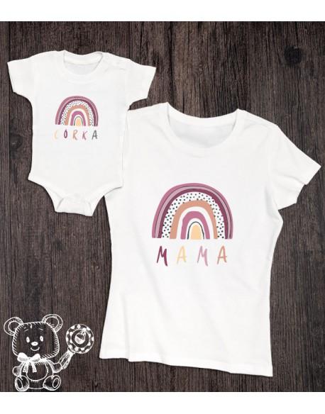 Koszulka i body/koszulka dla mamy i córki Tęcza