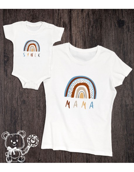 Koszulka i body/koszulka dla mamy i synka Tęcza