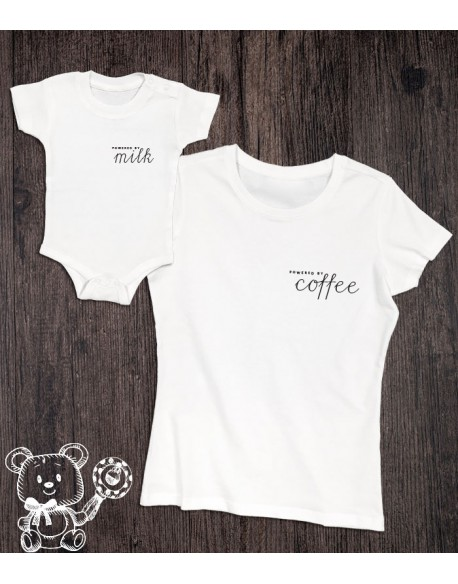 Koszulka i body/koszulka dla mamy i dziecka Powered by