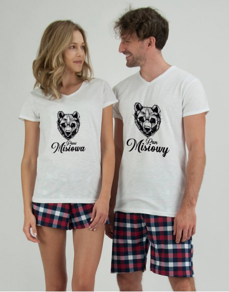 Piżamy dla pary Miś krata