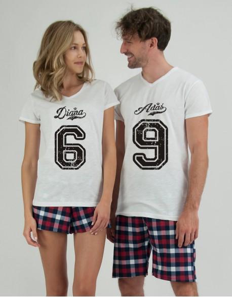 Piżamy dla pary 6 9 krata