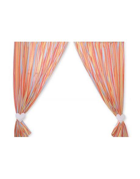 Zasłonki do pokoju dziecięcego- Wiszące serduszka paseczki pomarańczowe