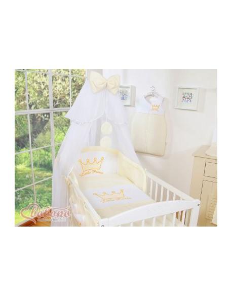 Pościel 5-cz z moskitierą- Little Prince/Princess kremowe