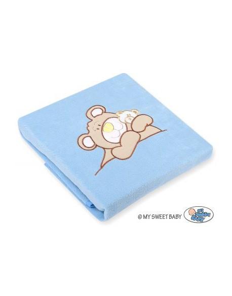 Kocyk polarowy- Miś Barnaba niebieski
