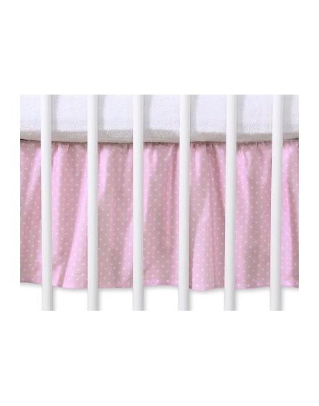 Falbanka maskująca 120x60cm- Wiszące serduszka kropki na różu