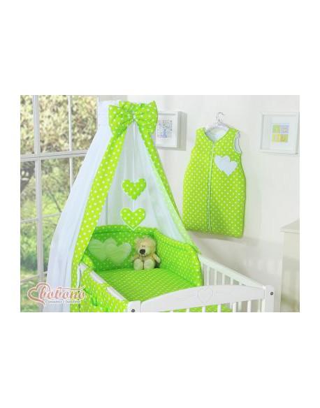 Baldachim z tkaniny- Serduszka białe grochy na zielonym