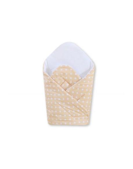 Rożek usztywniany- Wiszące serduszka białe grochy na beżowym