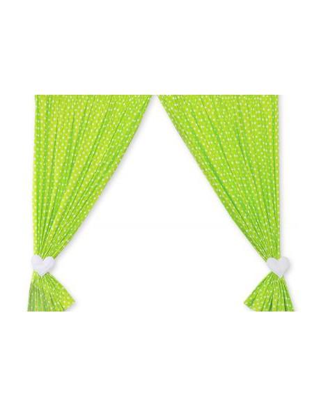 Zasłonki do pokoju dziecięcego- Wiszące serduszka białe grochy na zielonym tle