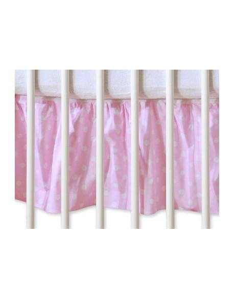Falbanka maskująca 140x70cm- Wiszące serduszka białe grochy na różu