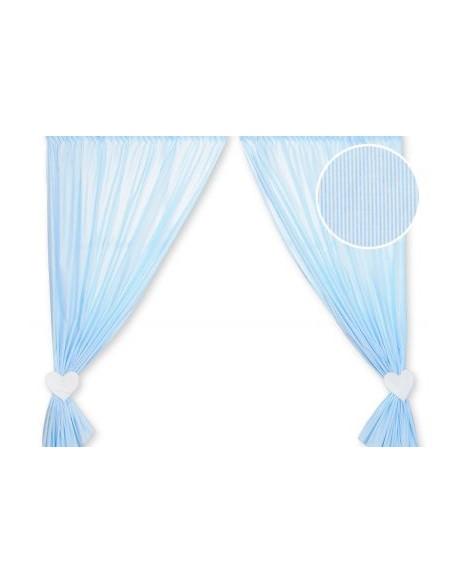 Zasłonki do pokoju dziecięcego- Wiszące serduszka paseczki niebieskie