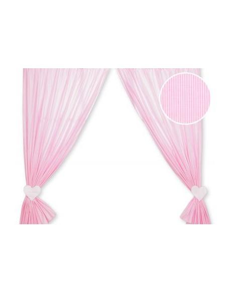 Zasłonki do pokoju dziecięcego- Wiszące serduszka paseczki różowe