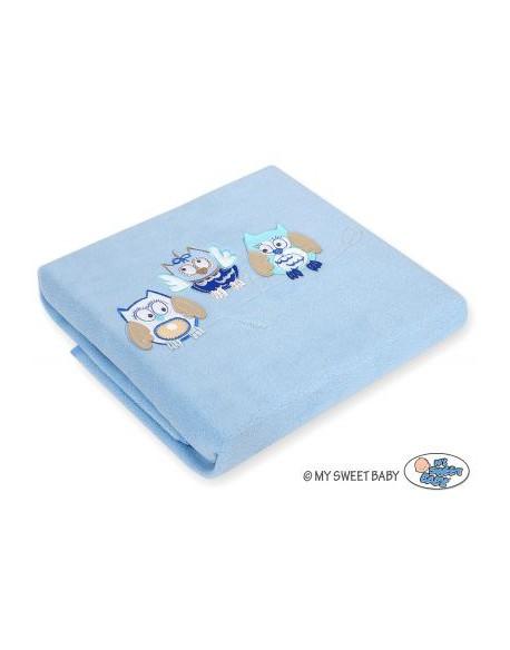 Kocyk polarowy- Sowy Bigi Zibi & Adele- jasnoniebieski