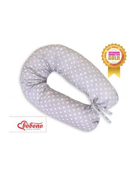 Poduszka ciążowa Longer- Białe grochy na szarym tle