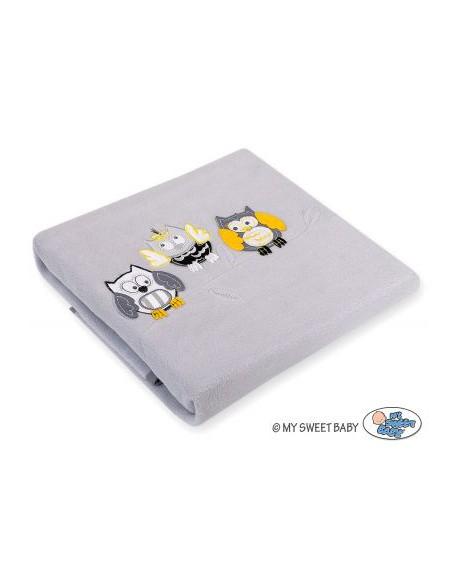 Kocyk polarowy- Sowy Bigi Zibi & Adele- szaro-żółte