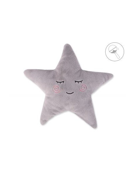 Poduszka Little STAR z grzechotką- szara