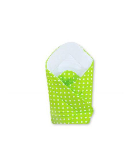 Rożek miękki- Wiszące serduszka białe grochy na zielonym