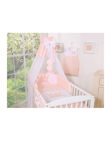 Pościel 5-cz z baldachimem- Little Prince/Princess pudrowy róż