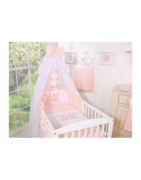 Pościel 5-cz z moskitierą- Little Prince/Princess pudrowy róż