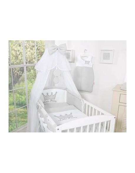 Pościel 5-cz z moskitierą- Little Prince/Princess szara