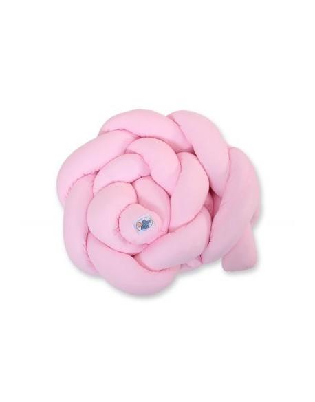 Ochraniacz warkocz pleciony do łóżeczka - różowy
