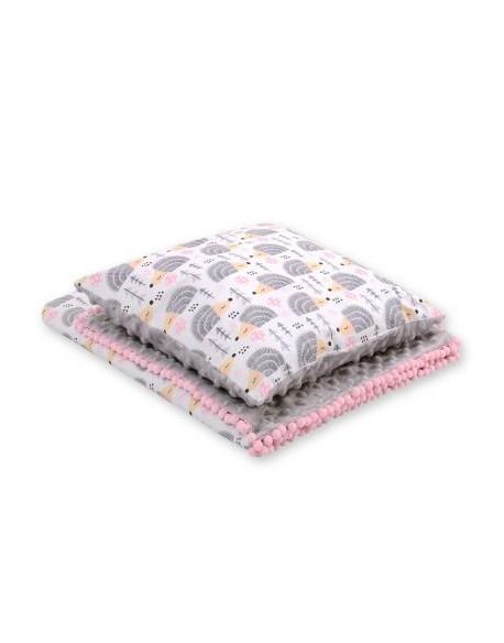 Komplet: Dwustronny kocyk minky poduszka - jeżyki szare