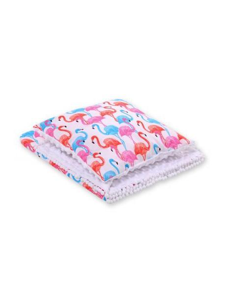 Komplet: Dwustronny kocyk minky poduszka - flamingi