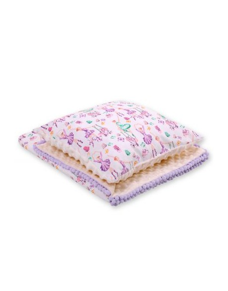 Komplet: Dwustronny kocyk minky poduszka - baletnice fioletowe