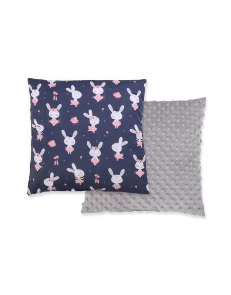 Poduszka dwustronna - króliczki baletnice granatowe