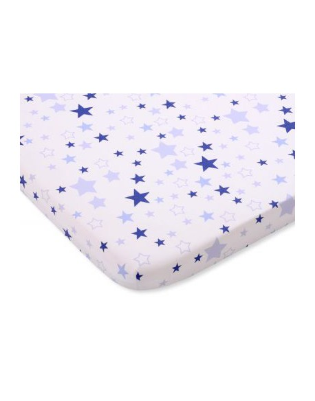 Prześcieradło bawełna 120x60cm gwiazdki biało-niebieskie