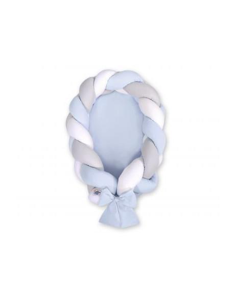 Kokon niemowlęcy pleciony 2 w 1 - biało-szaro-niebieski