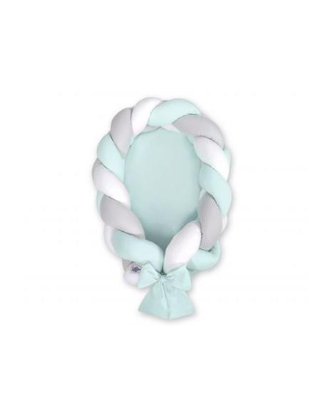 Kokon niemowlęcy pleciony 2 w 1 - biało-szaro-miętowy