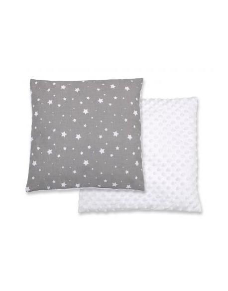 Poduszka dwustronna - mini gwiazdki białe na szarym