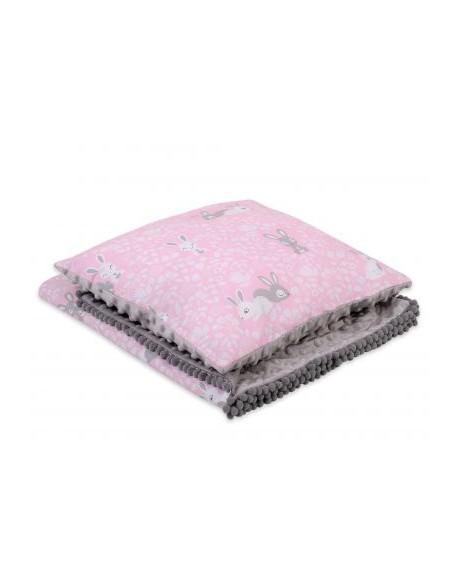 Komplet: Dwustronny kocyk + poduszka (minky)- króliczki różowe