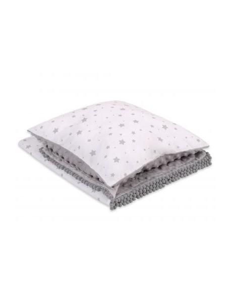 Komplet: Dwustronny kocyk poduszka (minky)- mini gwiazdki szare na białym tle