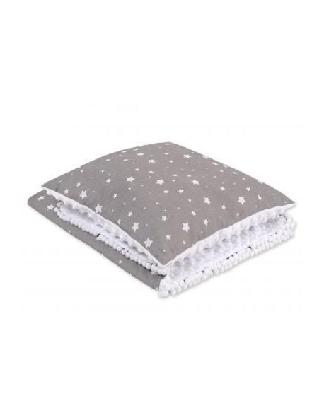 Komplet: Dwustronny kocyk + poduszka (minky)- mini gwiazdki białe na szarym tle