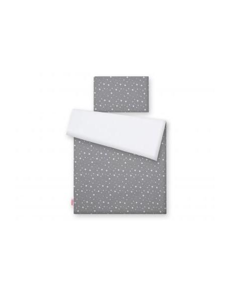Dwustronna pościel 2-cz - mini gwiazdki białe na szarym/biały