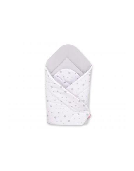 Rożek miękki - mini gwiazdki szare na białym tle