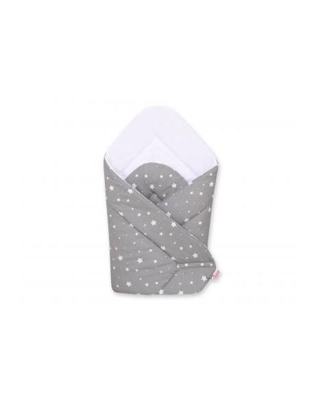 Rożek miękki - mini gwiazdki białe na szarym