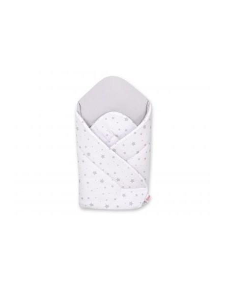 Rożek usztywniany - mini gwiazdki szare na białym tle