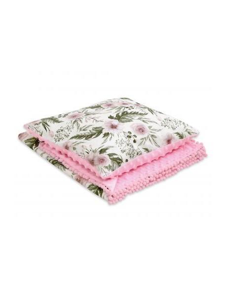 Komplet: Dwustronny kocyk + poduszka (minky)- peonie różowe