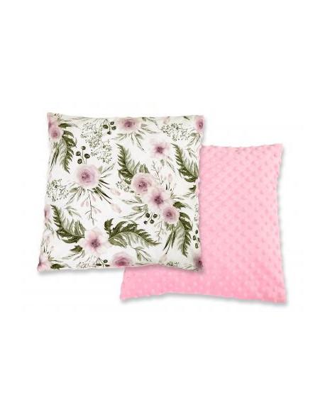 Poduszka dwustronna minky - peonie różowe